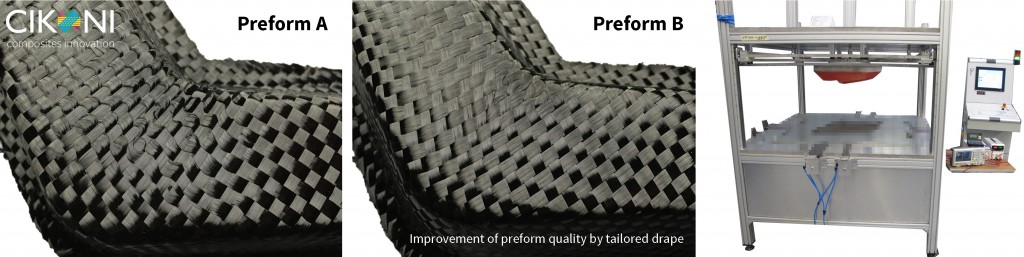 Figure 3: Preform variations using the example of an L-shape and preforming device with single-layer material guidance for small volume production