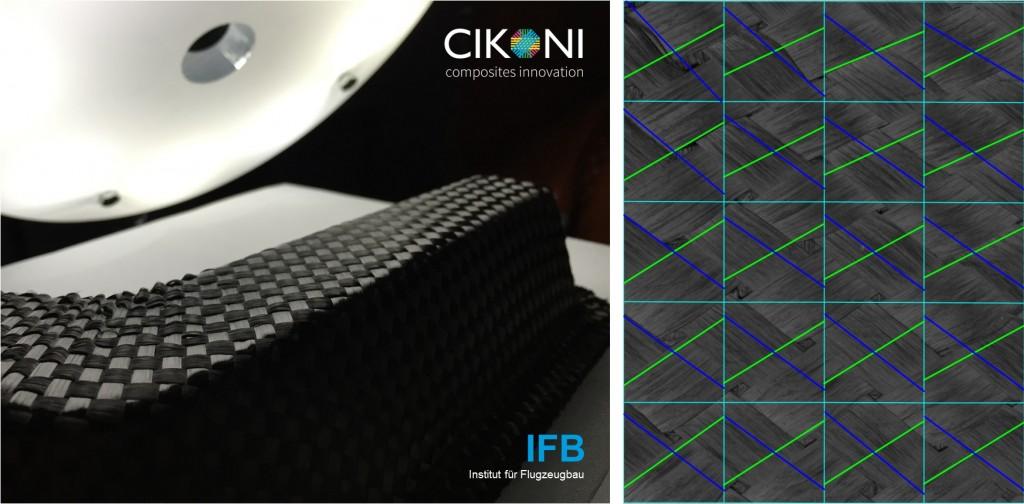 Abbildung 4: Robotergestützte 3D-Preformanalyse (IFB) einer geschädigten Preform mit bildanalytischer Faserwinkelerkennung (FIBRE)
